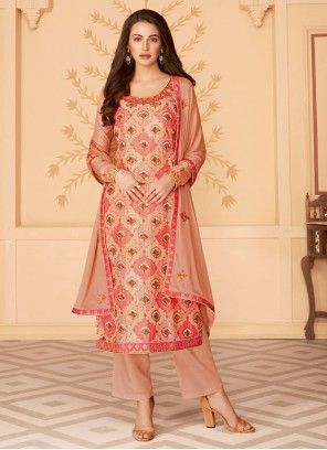 Beige Wedding Tussar Silk Salwar Kameez