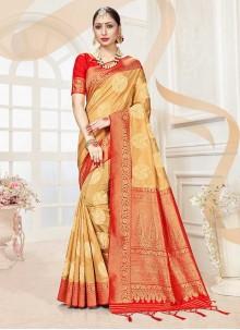Beige Woven Banarasi Silk Traditional Designer Saree