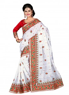 Best Bhagalpuri Silk White Designer Saree