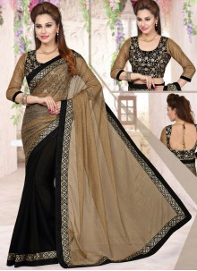 Best Black Lace Work Net Half N Half Designer Saree