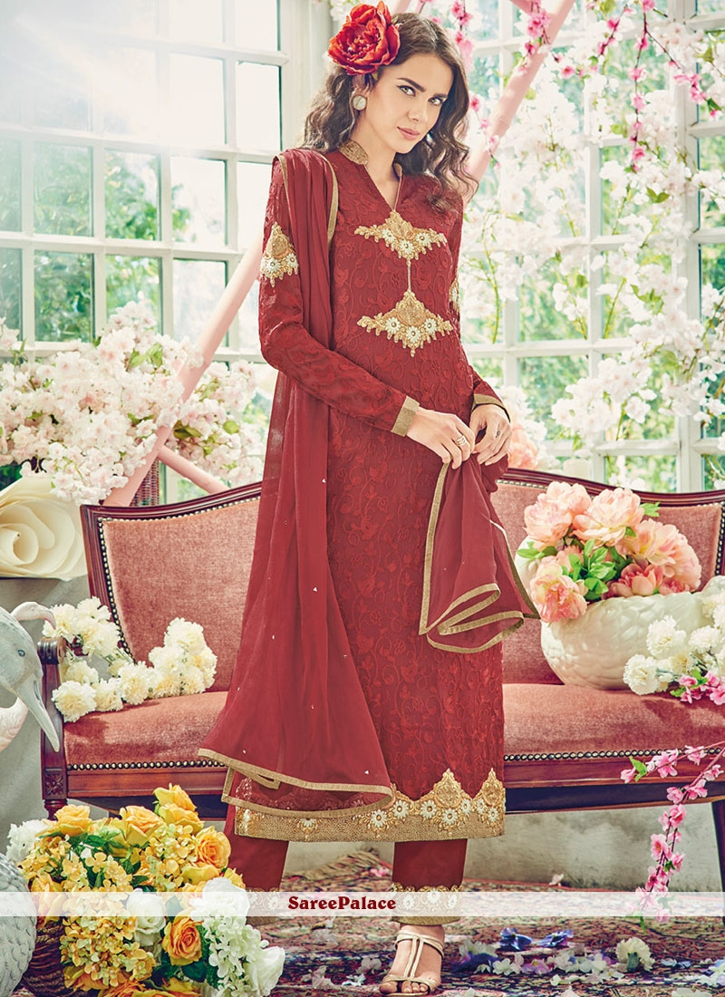 Best Maroon Resham Work Designer Suit