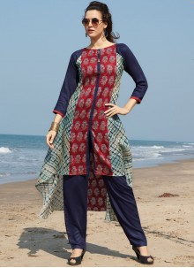 Best Print Work Multi Colour Chanderi Cotton Party Wear Kurti