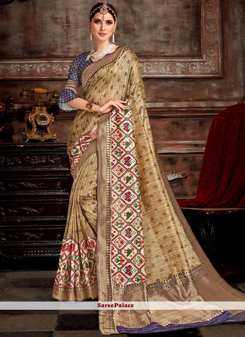 Bhagalpuri Silk Beige Designer Saree