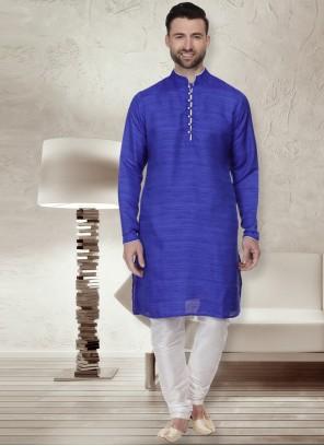 Bhagalpuri Silk Blue Kurta Pyjama