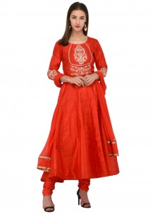 Bhagalpuri Silk Red Embroidered Anarkali Salwar Suit