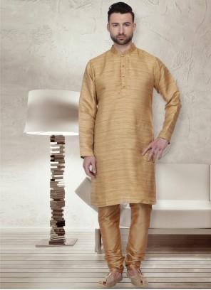 Bhagalpuri Silk Plain Kurta Pyjama in Gold