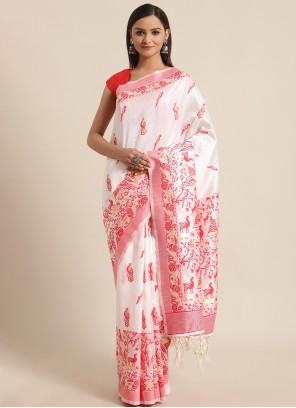 Bhagalpuri Silk Red and White Traditional Saree