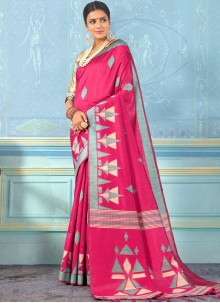 Bhagalpuri Silk Weaving Designer Traditional Saree in Rani