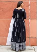Black Aari Linen Readymade Suit