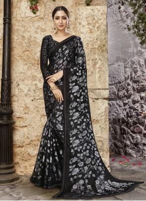 Black Abstract Print Ceremonial Printed Saree