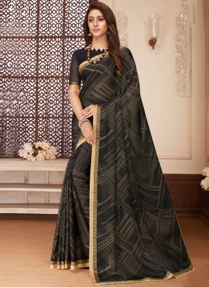 Black Abstract Print Faux Georgette Printed Saree