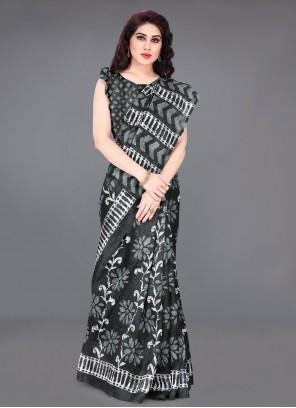 Black Abstract Print Khadi Silk Traditional Saree