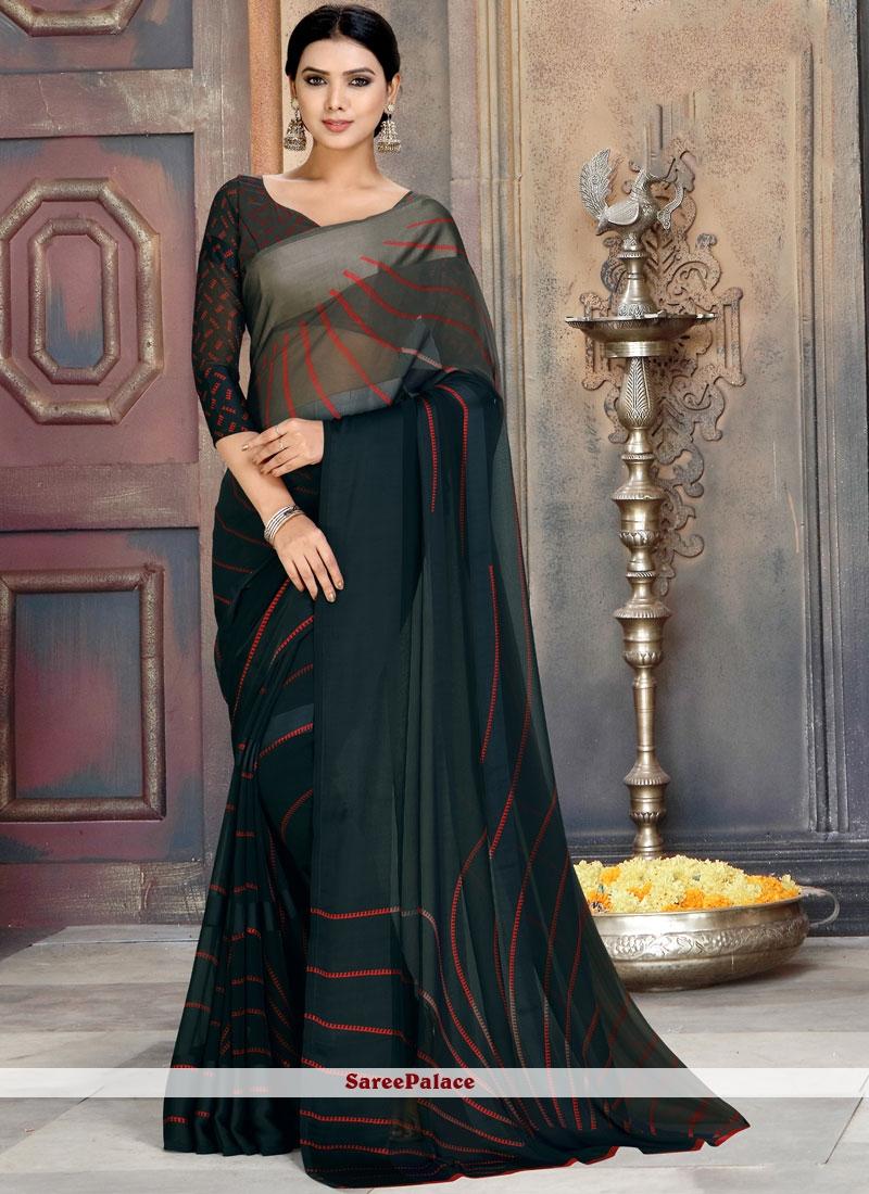 Black Abstract Printed Saree