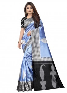 Black and Blue Abstract Print Traditional Saree