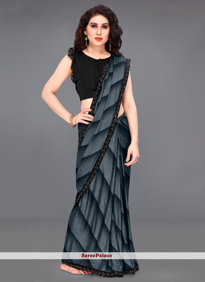 Black and Blue Border Printed Saree