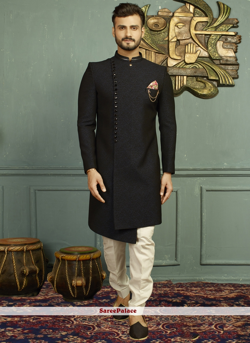 Black and Blue Embroidered Indo Western
