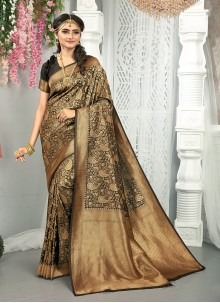 Black and Gold Festival Traditional Saree