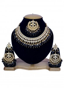 Black and Gold Stone Work Sangeet Necklace Set