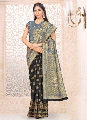 Black and Grey Banarasi Silk Half N Half  Saree
