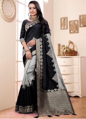 Black and Grey Color Designer Traditional Saree
