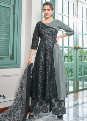 Black and Grey Embroidered Maslin Cotton Salwar Kameez