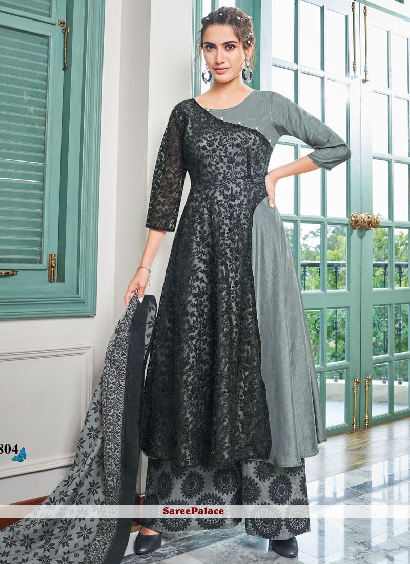 Black and Grey Embroidered Maslin Cotton Salwar Kameez