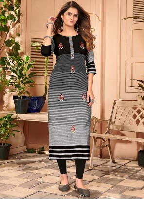 Black and Grey Embroidered Party Wear Kurti