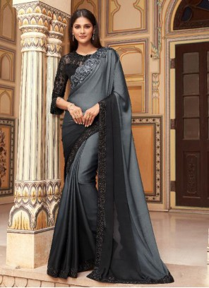 Black and Grey Faux Georgette Embroidered Shaded Saree