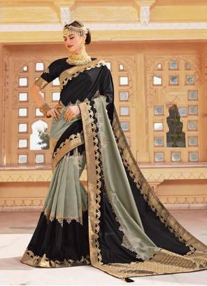 Black and Grey Silk Saree