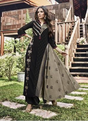 Black and Grey Thread Work Jacquard Designer Kurti