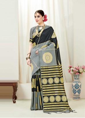 Black and Grey Weaving Designer Traditional Saree