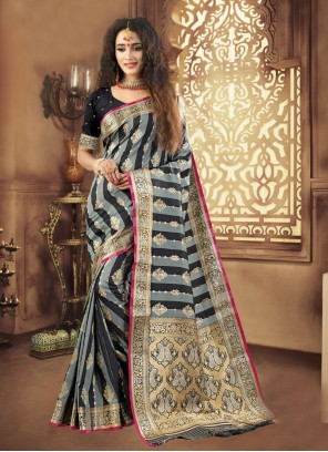 Black and Grey Woven Traditional Designer Saree