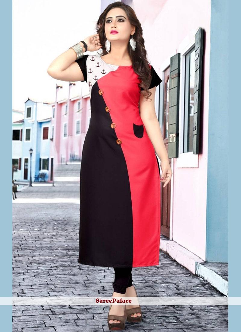 Black and Pink Print Casual Kurti