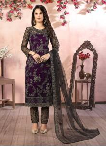 Black and Purple Sequins Net Pant Style Suit