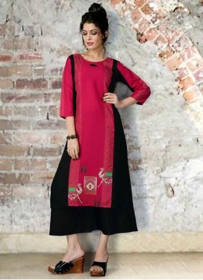Black and Rani Fancy Fabric Print Party Wear Kurti