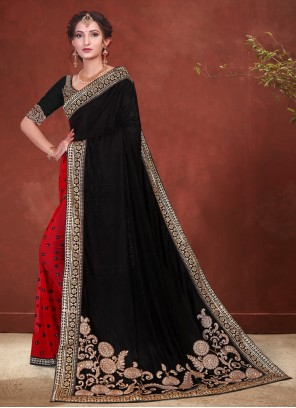 Black and Red Color Designer Half N Half Saree