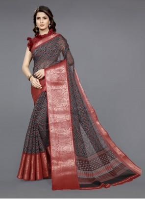 Black and Red Cotton Festival Classic Saree