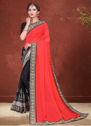 Black and Red Faux Georgette Patch Border Half N Half Designer Saree