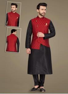 Black and Red Jacquard Work Jacquard Kurta Payjama With Jacket