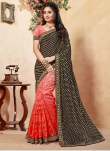 Black and Red Lace Work Net Half N Half  Saree