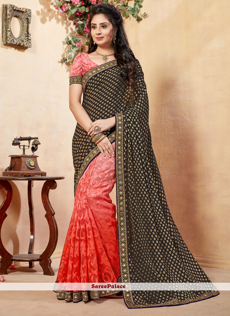 Black and Red Lace Work Net Half N Half  Saree