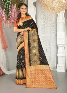 Black and Red Mehndi Art Silk Traditional Saree