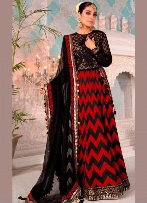 Black and Red Net Floor Length Anarkali Suit