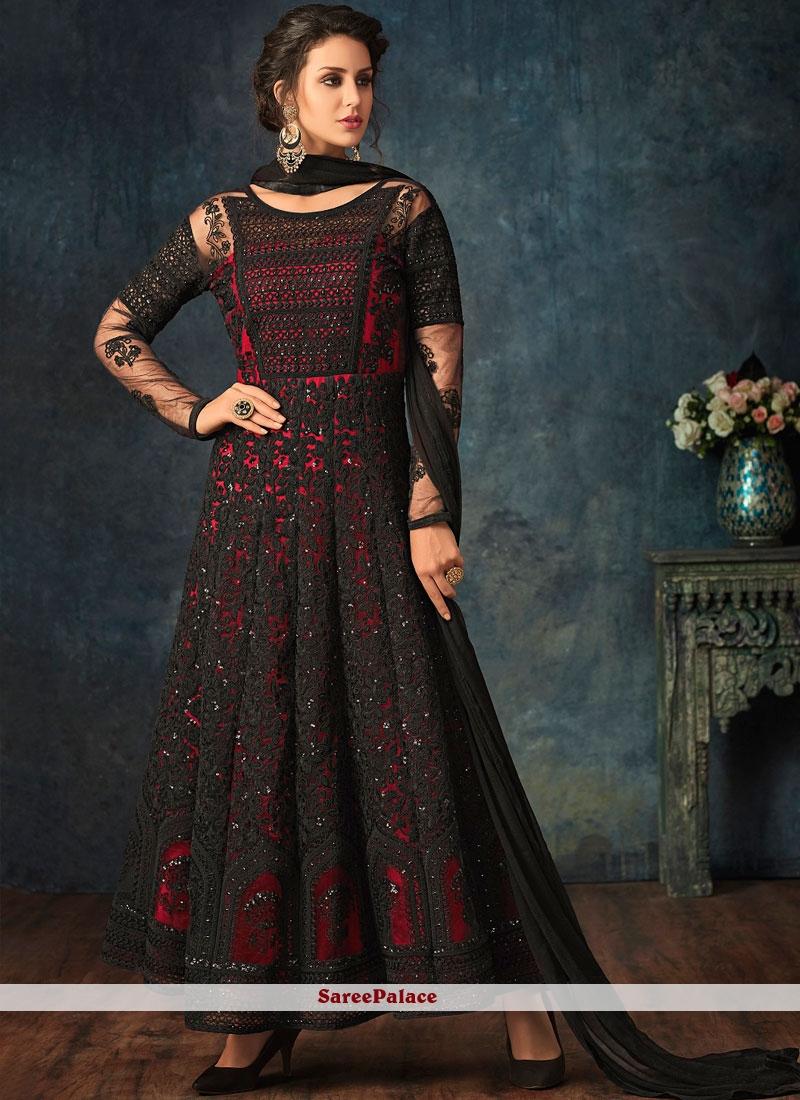Black and Red Net Wedding Anarkali Salwar Suit
