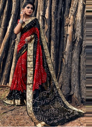 Black and Red Print Bandhani Saree