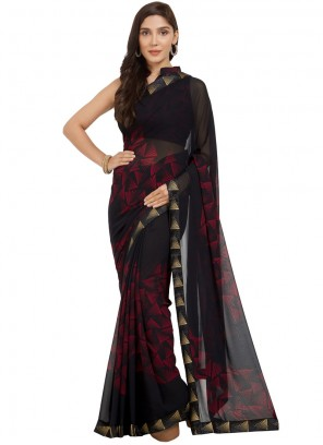 Black and Red Printed Work Faux Georgette Casual Saree