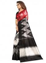 Black and Red Raw Silk Print Printed Saree