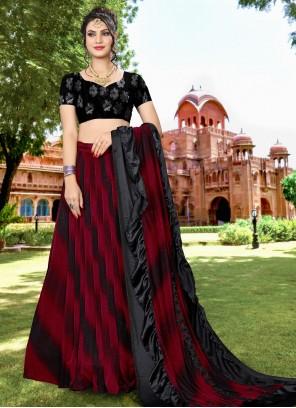 Black and Red Resham Wedding Lehenga Choli