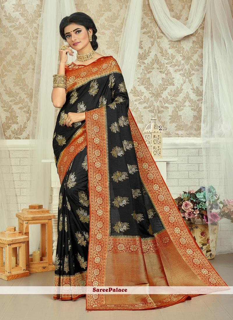 Black and Red Weaving Art Silk Saree