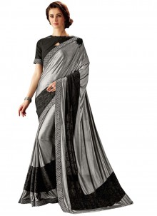 Black and Silver Fancy Wedding Trendy Saree